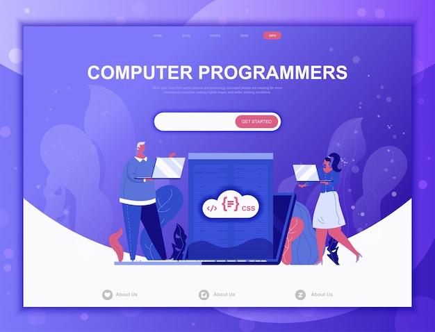 Компьютерные программисты плоская концепция, веб-шаблон целевой страницы