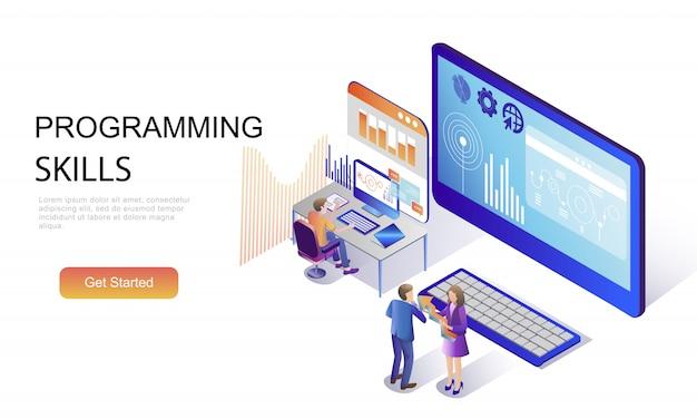 Плоская изометрическая концепция навыков программирования