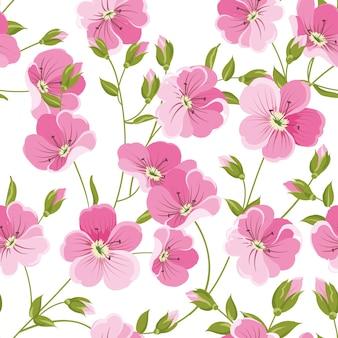赤い花と小さな葉のパターン。