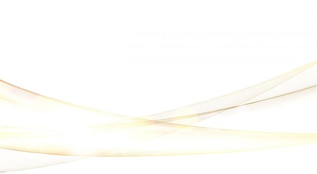 黄金の火花と白い背景の上の抽象的な流れの波。