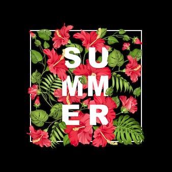 Летняя надпись на раме, красный цветок гибискуса.