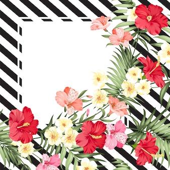 ラインとフレーム上の熱帯の花の花輪