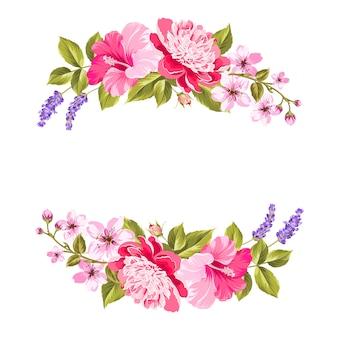 熱帯の花の花輪。