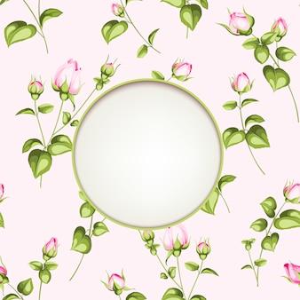 ビンテージスタイルの花のサークルラベル