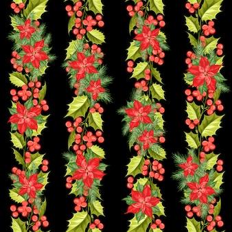 赤いポインセチアの花のパターン。クリスマスの星とのシームレスな休日。ポインセチアの手作り花柄。