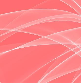 魔法の波の色。生きたサンゴ、一年の色。ピンクの背景に素晴らしい白い線。