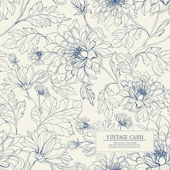 花のシームレスなパターンを持つヴィンテージのカード。
