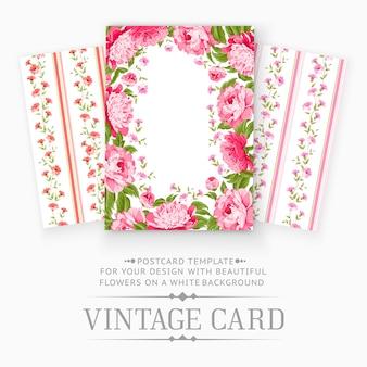 Винтажная открытка с цветочными элементами.