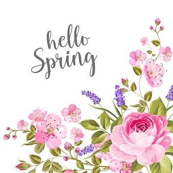 春の花の花輪。