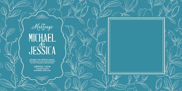 Пригласительная открытка с цветами.