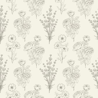 黒と白の花のシームレスなパターン。