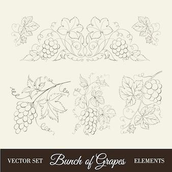 手描き鉛筆、ブドウのセット。