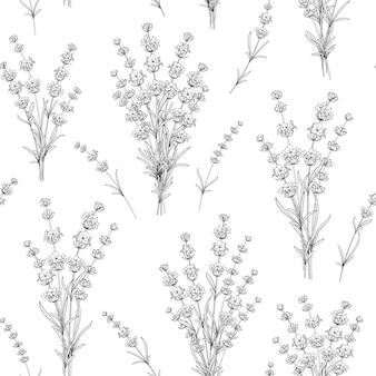 ラベンダーの花のシームレスなパターン。
