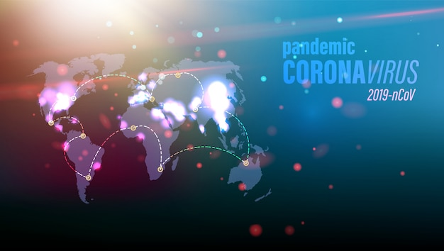 Изображение концепции опасности коронавируса на голубой карте мира с красными частицами в окружающей среде.