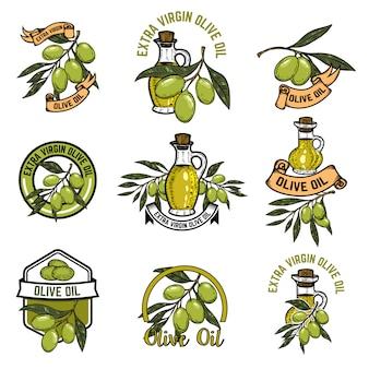 オリーブオイルのエンブレムのセットです。オリーブの枝。ロゴ、ラベル、エンブレム、記号の要素。図