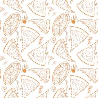 Бесшовный фон с пиццей, зеленью, грибами, оливками. иллюстрация