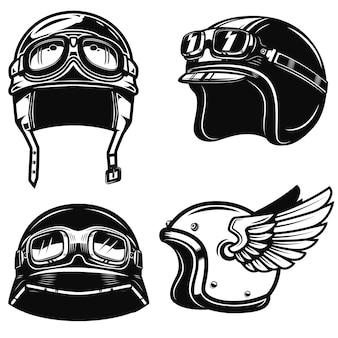白い背景の上のレーサーヘルメットのセットです。ポスター、エンブレム、記号の要素。図