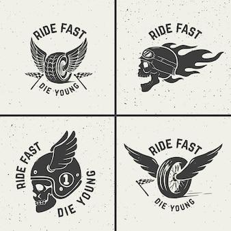 若くして速く死ぬ。手描きの翼を持つホイール。レーサーの頭蓋骨。ポスター、カード、エンブレム、看板、ラベルの要素。図