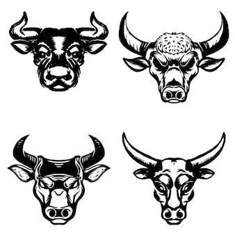 白い背景の上の手描きの牛の頭のセット。エンブレム、記号、バッジの要素。図