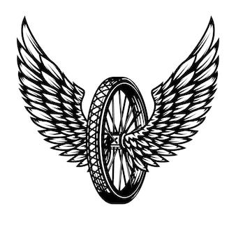 Колесо с крыльями. элемент для логотипа, этикетки, эмблемы, знака, значка, футболки, плаката. иллюстрация