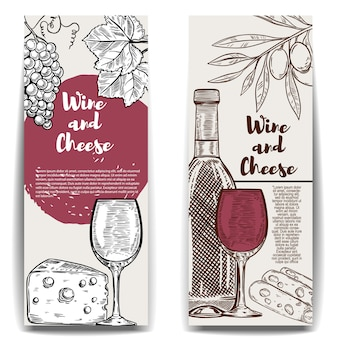 ワインとチーズのバナーテンプレート。メニュー、ポスター、チラシの要素。図