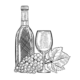 Винтажная бутылка вина с виноградом и бокалом. элементы для меню, плакат, открытка. иллюстрация