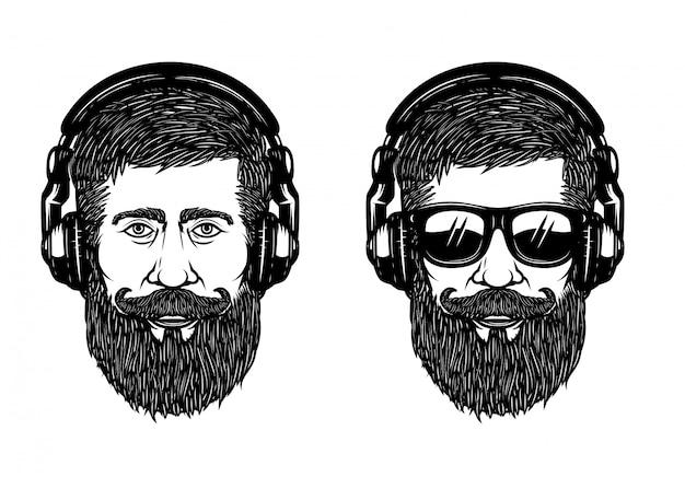 Бородатый мужчина лицо с солнцезащитные очки и наушники. элемент для плаката, эмблемы, этикетки, футболки. иллюстрация