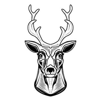 白い背景の上の鹿のアイコン。ロゴ、ラベル、エンブレム、記号の要素。図
