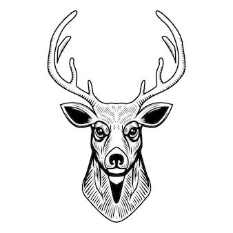 白い背景の上の鹿の頭のイラスト。エンブレム、看板、ポスター、ラベルの要素。図