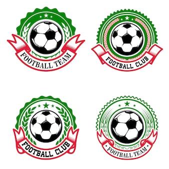 カラフルなサッカークラブのエンブレムのセットです。サッカークラブ。ロゴ、ラベル、エンブレム、記号の要素。図