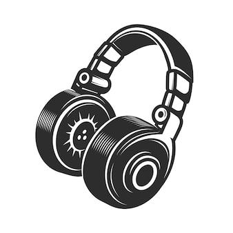 白い背景の上のヘッドフォンのアイコン。エンブレム、バッジ、記号の要素。図