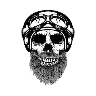 レーサーヘルメットのひげを生やした頭蓋骨。ロゴ、ラベル、エンブレム、看板、ポスター、バナーの要素。図