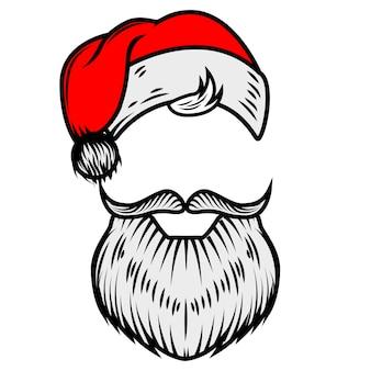 サンタクロースのひげと帽子。ポスター、カードの要素。図