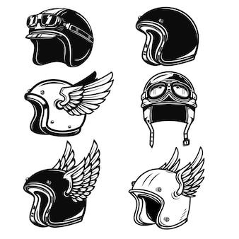 レーサーヘルメットのセットです。ロゴ、ラベル、エンブレム、記号、バッジの要素。図