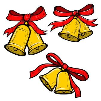 白い背景の上のクリスマスの鐘イラストのセットです。ポスター、カード、バナーの要素。図