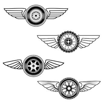 翼のある車輪のセット。ロゴ、ラベル、エンブレム、記号の要素。図