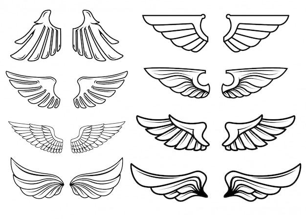 翼のアイコンのセットです。ロゴ、ラベル、エンブレム、記号の要素。図