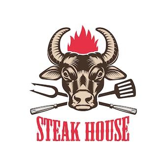 ステーキハウス。牛の頭を持つエンブレムテンプレート。