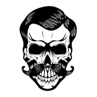 口ひげを持つ頭蓋骨