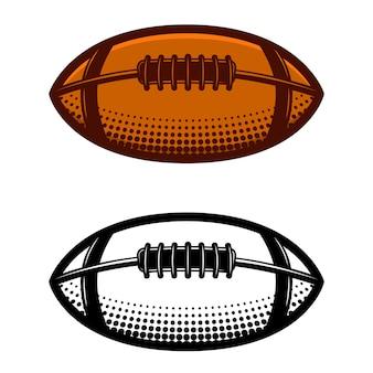 白い背景の上のアメリカンフットボールのボールのイラスト。ロゴ、ラベル、エンブレム、記号の要素。図