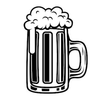 白い背景の上のビールジョッキのイラスト。ロゴ、ラベル、エンブレム、記号の要素。図