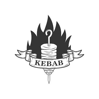 ケバブ。ロゴ、ラベル、エンブレム、記号の要素。図