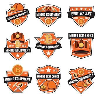 Набор эмблем криптовалюты майнинга на белом фоне. элементы для логотипа, этикетки, эмблемы, знака. иллюстрация