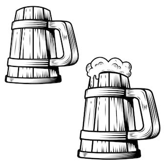 白い背景の上のビールのジョッキ。ポスター、カード、エンブレム、ロゴの要素。図
