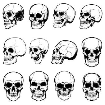 白い背景の上の人間の頭蓋骨のイラストのセットです。ラベル、エンブレム、記号、ロゴ、ポスターの要素。画像