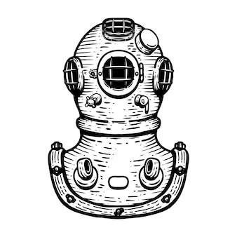手が白い背景のレトロなスタイルのダイバーヘルメットのイラストを描いた。ロゴ、ラベル、エンブレム、記号、バッジの要素。画像