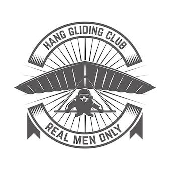 ハンググライダークラブエンブレムテンプレート。ロゴ、ラベル、エンブレム、記号の要素。図