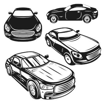 車のイラストのセットです。ロゴ、ラベル、エンブレム、看板、ポスターの要素。画像