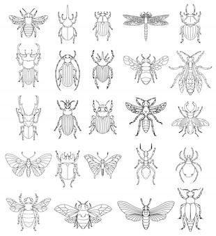 白い背景の上の昆虫のイラストのセットです。ロゴ、ラベル、エンブレム、記号、バッジの要素。画像