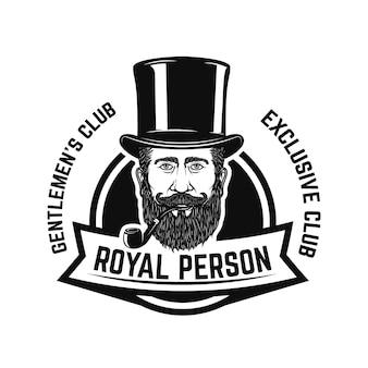喫煙者クラブ。喫煙パイプ付き紳士の頭。ロゴ、ラベル、エンブレム、記号、バッジの要素。図